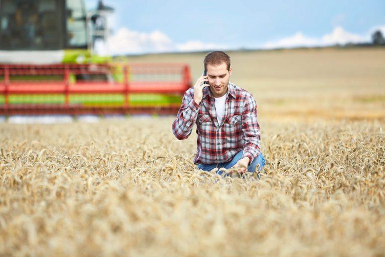 Farmer talking on phone